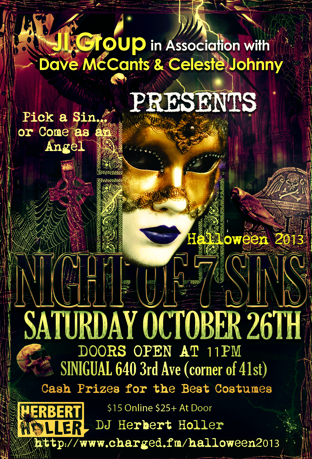 Dave McCants & Celeste Johnny in Association w/ the JI Group presents Night of 7 Sins Halloween Party!! • Social Capitale | Social Capitale